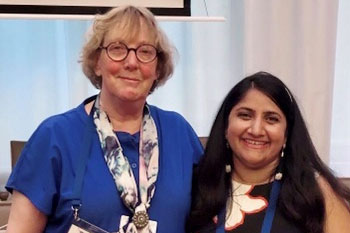 Eileen Focke - Backer, GWI Membership, with Sudha Srivastava BFWG NEWS Editor